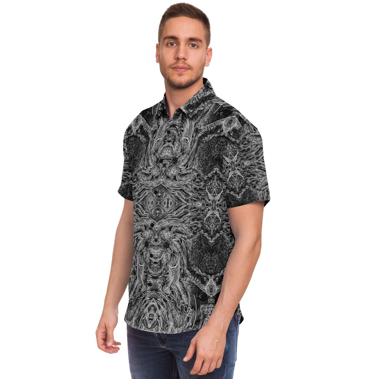 Shadow Short Sleeve Button Down Shirt - Manifestie