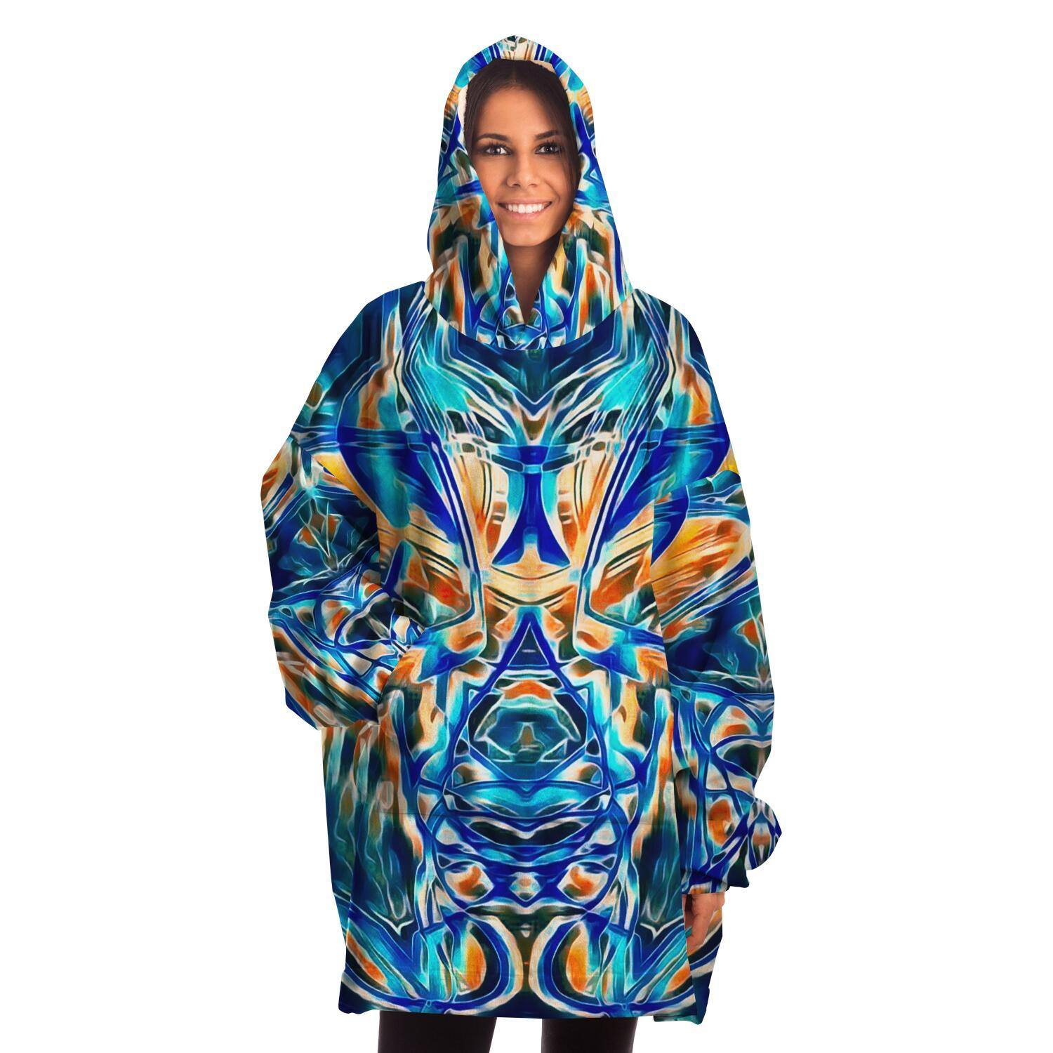 Blue Gaze Sherpa Snug Hoodie | WEARABLE BLANKET