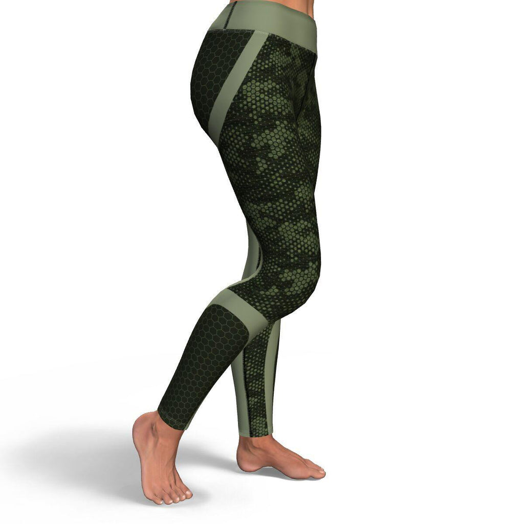 Green Honeycomb Camo PREMIUM YOGA LEGGINGS