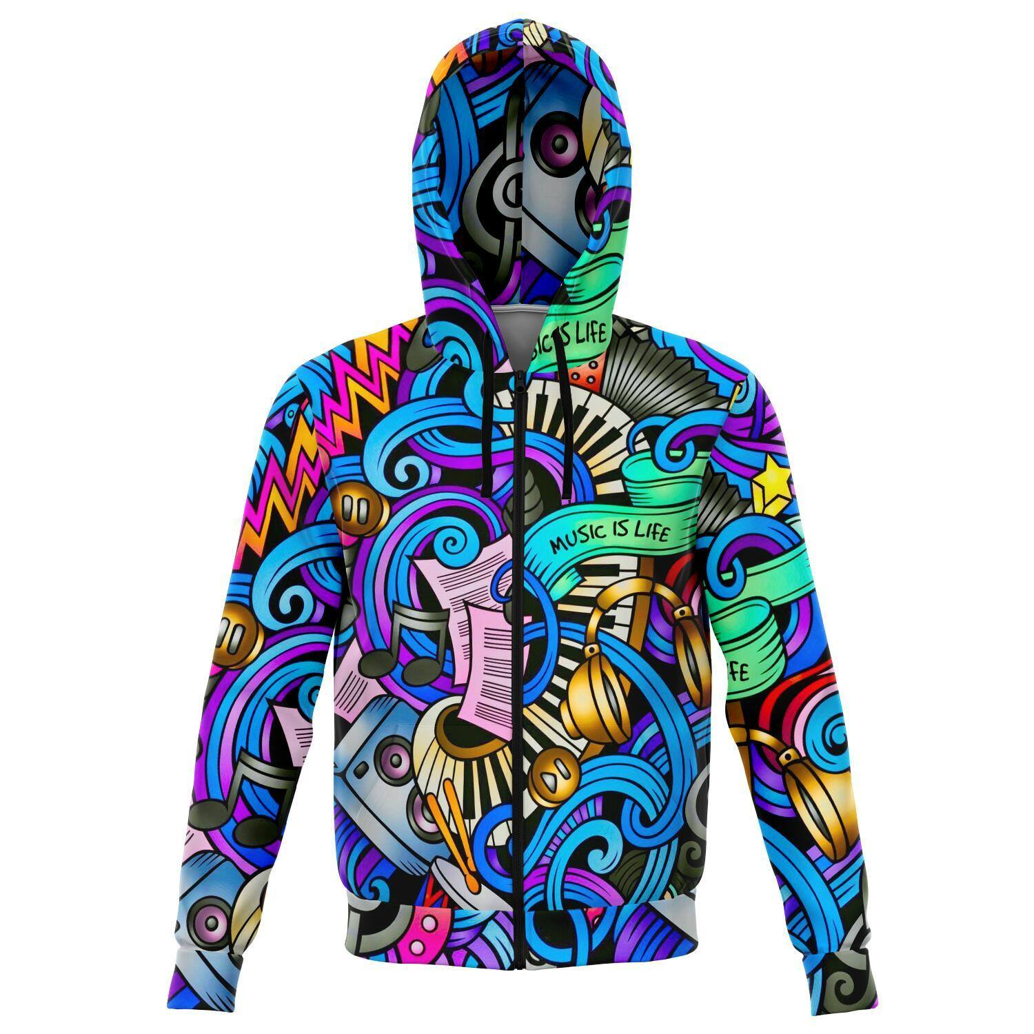 MUSIC IS LIFE PREMIUM ZIP UP HOODIE