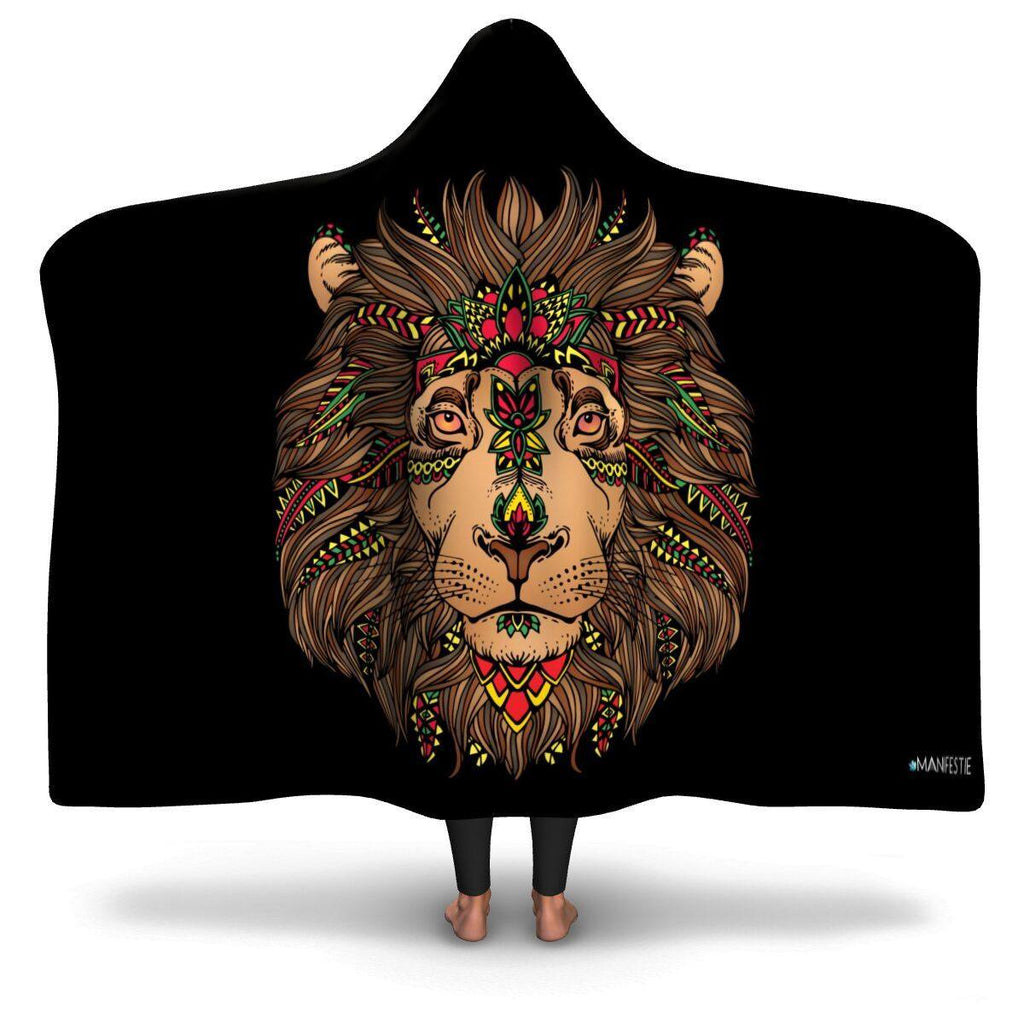 ZION LION PREMIUM HOODED BLANKET WITH WRIST STRAPS