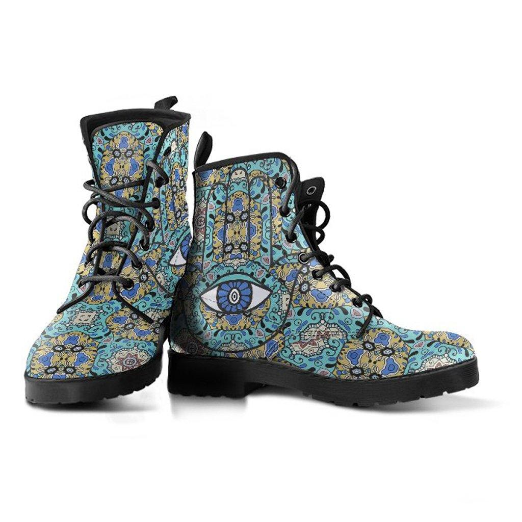 Blue Hamsa Eye Women's Leather Boots - Manifestie