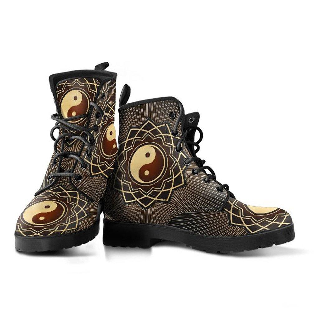 Brown YinYang Vegan Leather Boots - Manifestie
