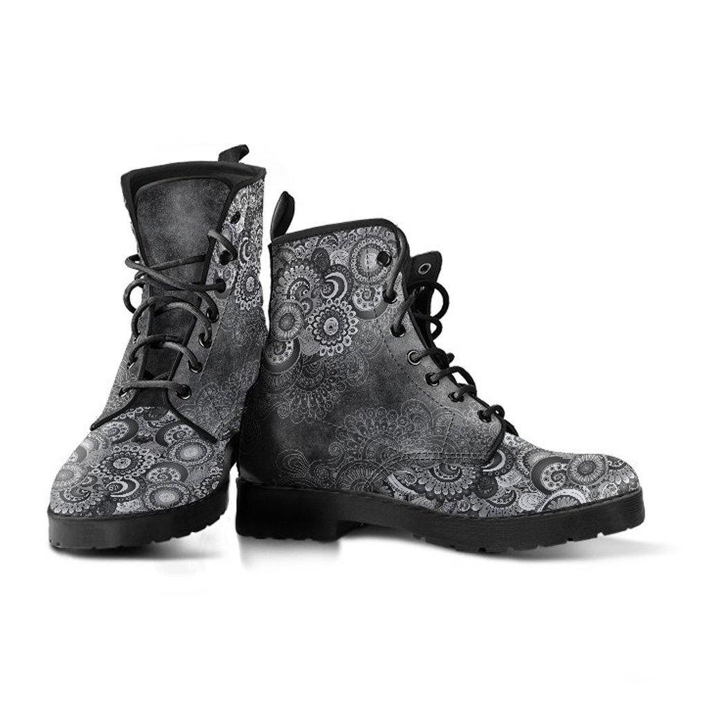 Charcoal Swirls Vegan Leather Boots - Manifestie