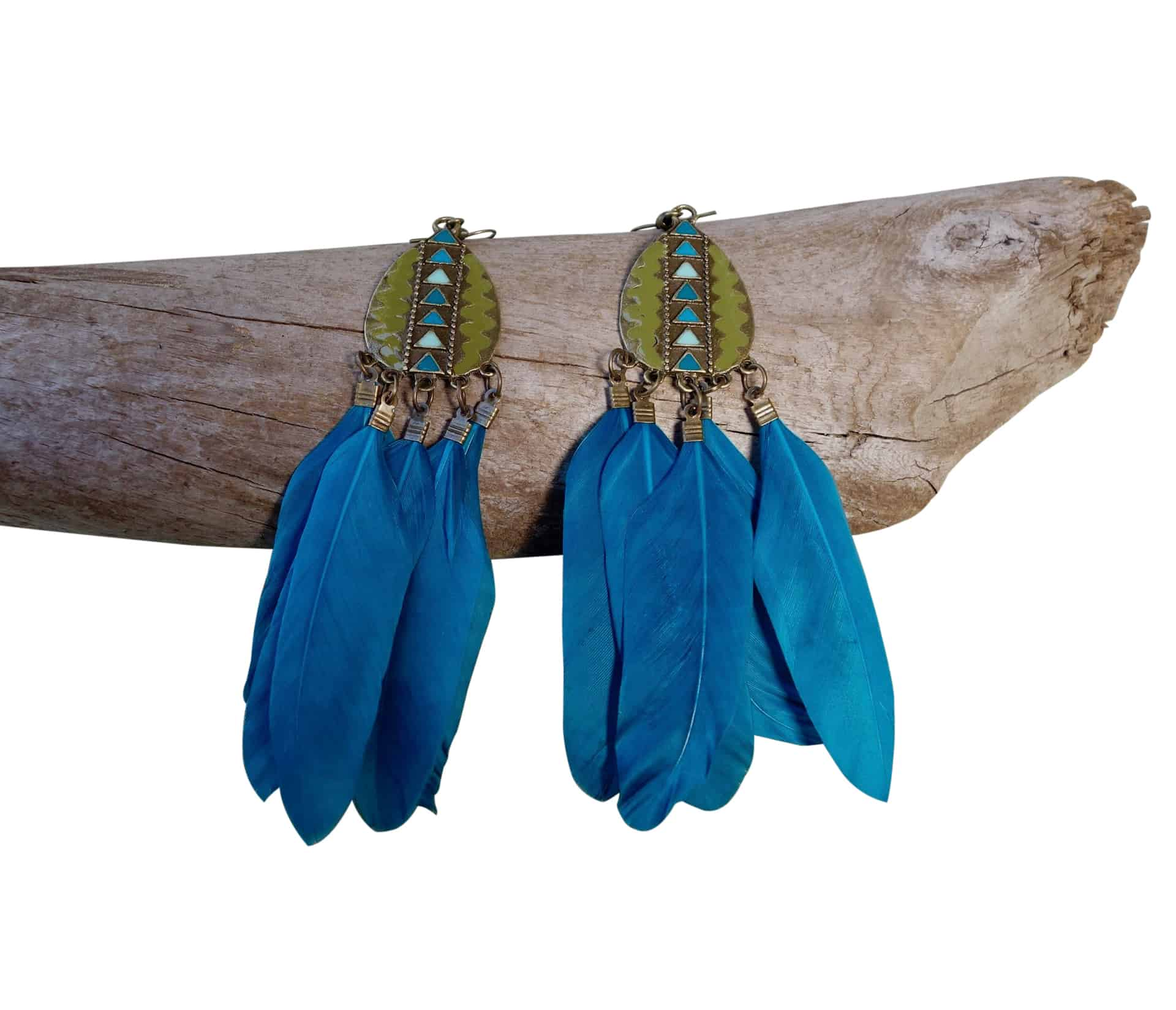 Feather Drop Earrings | Long Dangle | Teal