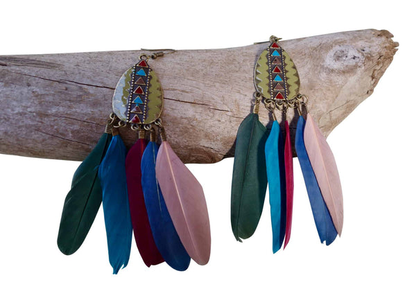 Feather Drop Earrings | Long Dangle | Green, Blue, Teal, Pink, Red, Rainbow