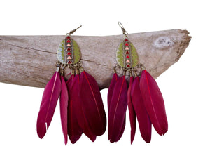 Feather Drop Earrings | Long Dangle | Red