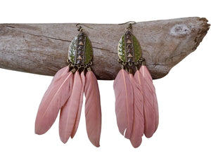 Feather Drop Earrings | Long Dangle | Pink