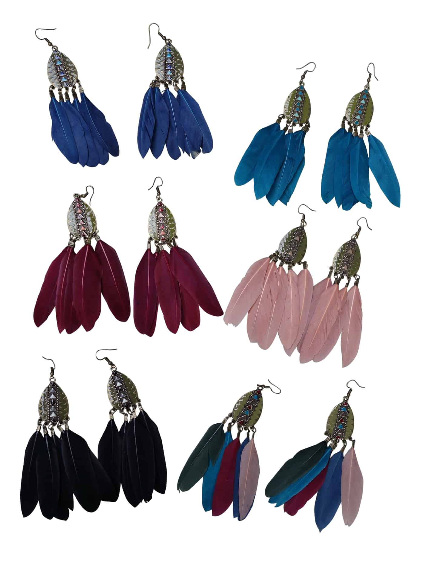 Feather Drop Earrings | Long Dangle | Black, Blue, Teal, Pink, Red, Rainbow