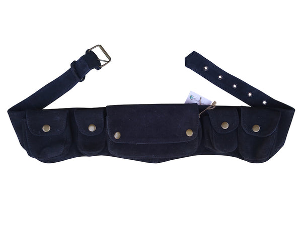 Unisex Leather Utility Belt | Black Suede, 7 Pocket | travel, festival, hands-free style