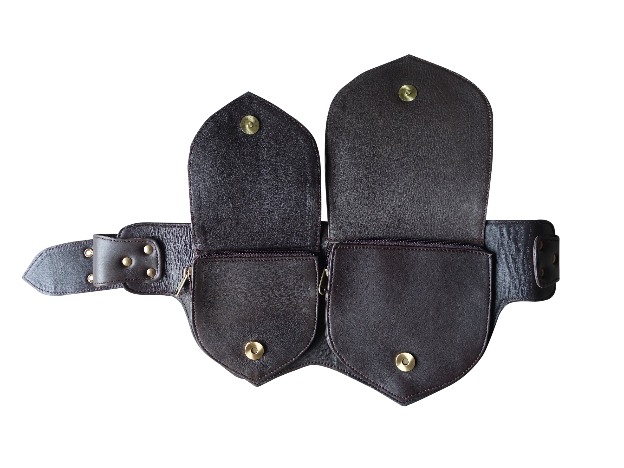 Leather Utility Belt | Black Double Leaf, 3 Pocket | travel, cosplay, festival | Fits iPhone