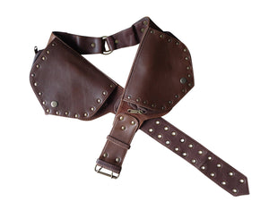 Leather Utility Belt | Brown Ring Saddlebag, 4 Pocket | Black | travel, cosplay, festival