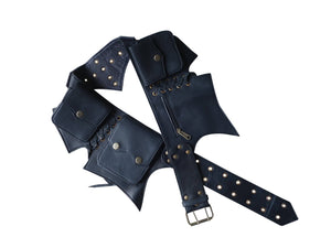 Leather Utility Belt | Black, 5 pockets | travel, cosplay, festival