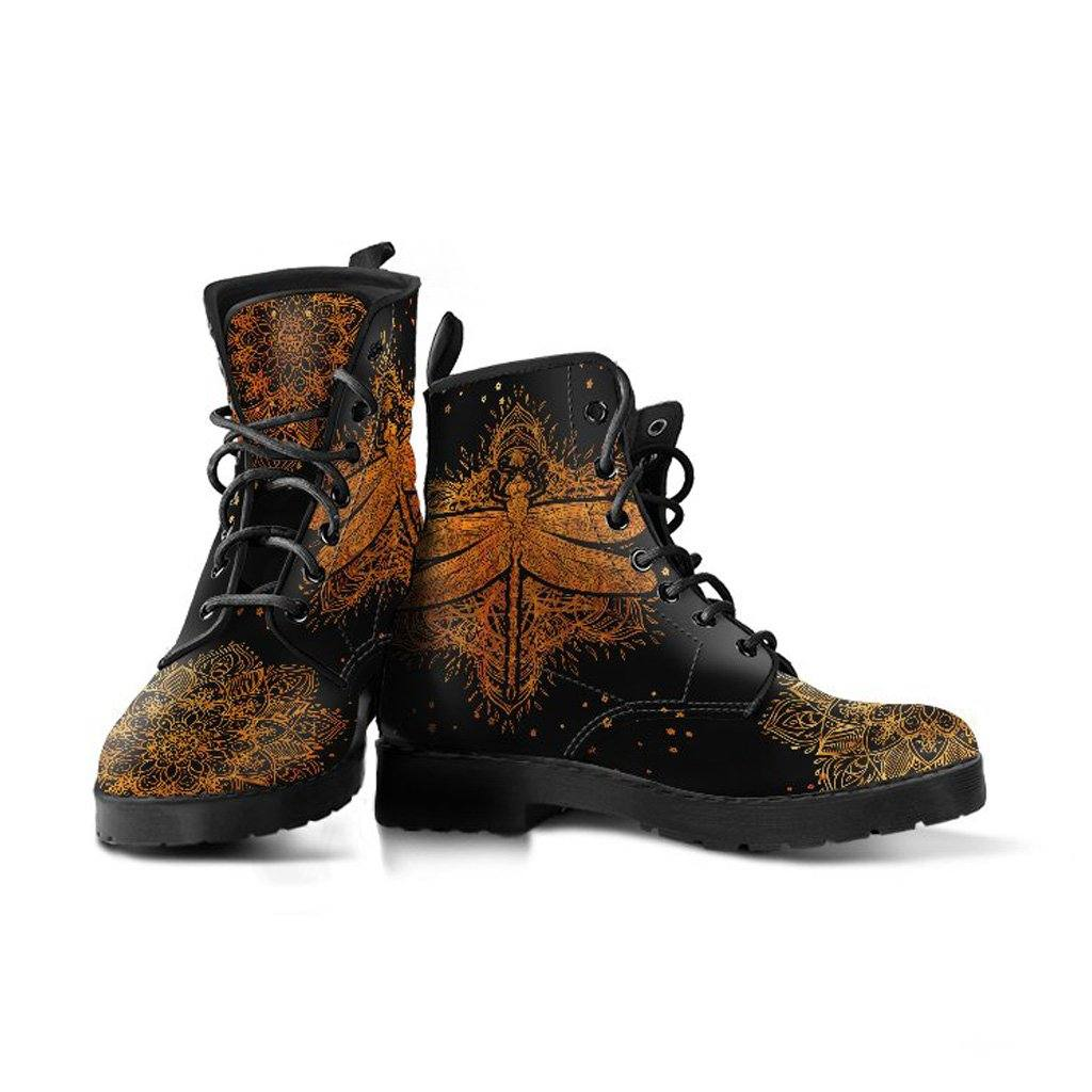 Gold Dragonfly Vegan Leather Boots