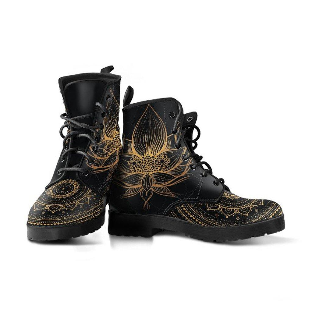 Gold Lotus Vegan Leather Boots - Manifestie