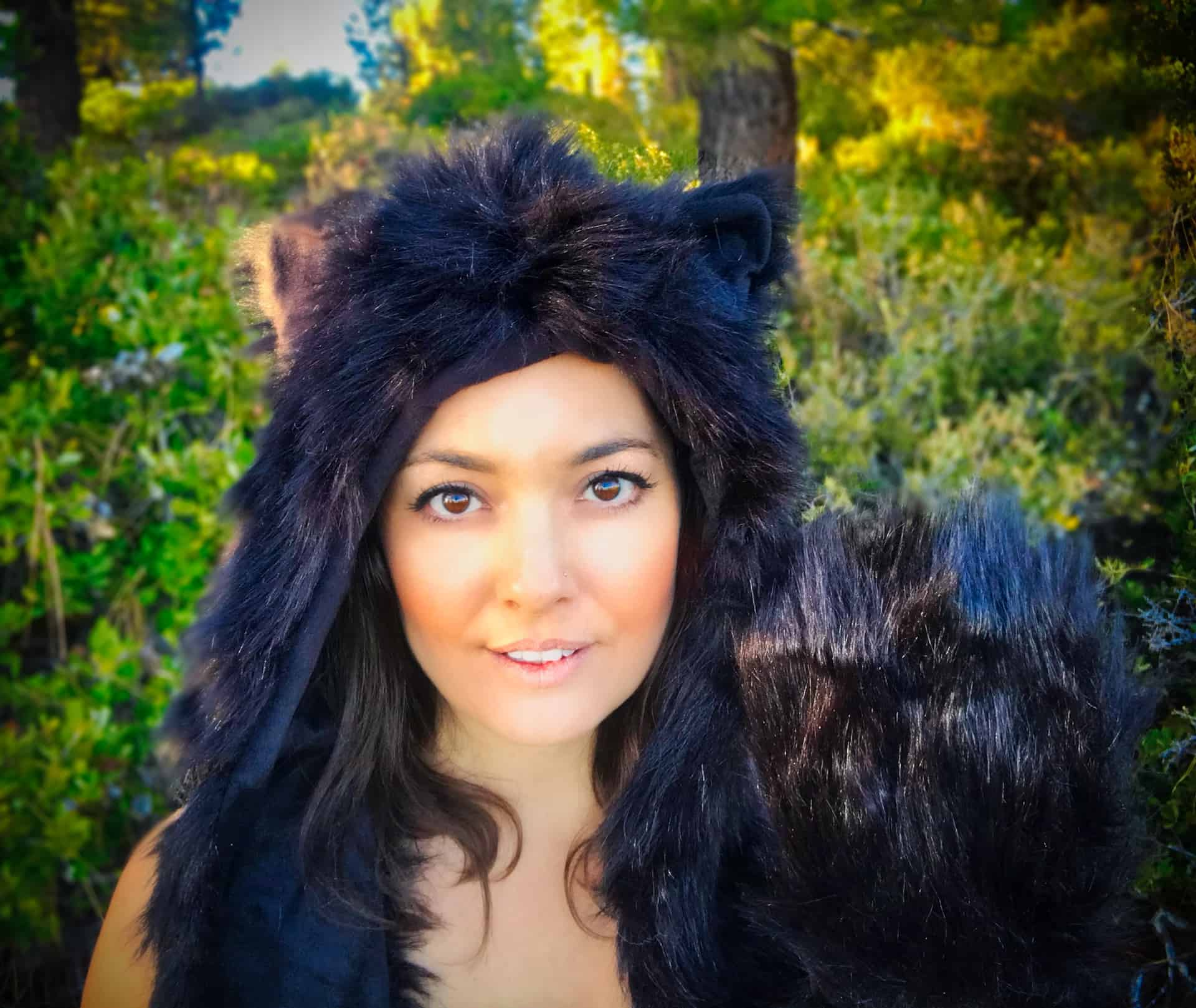 Faux Fur Animal Hood | Black Spirit Animal | FestieBeast Line