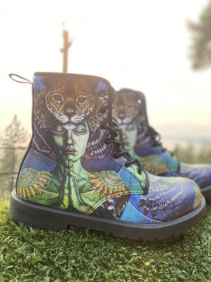 Leopard Goddess Spirit Animal Vegan Leather Boots - Manifestie
