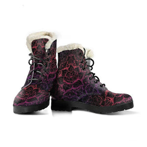 Lotus Vibrations Vegan Leather Boots with Faux Fur Lining