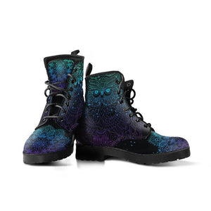 Purple Blue Owl Vegan Leather Boots