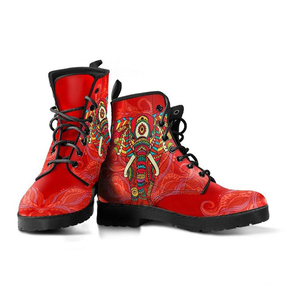 Red Regal Elephant Vegan Leather Boots - Manifestie