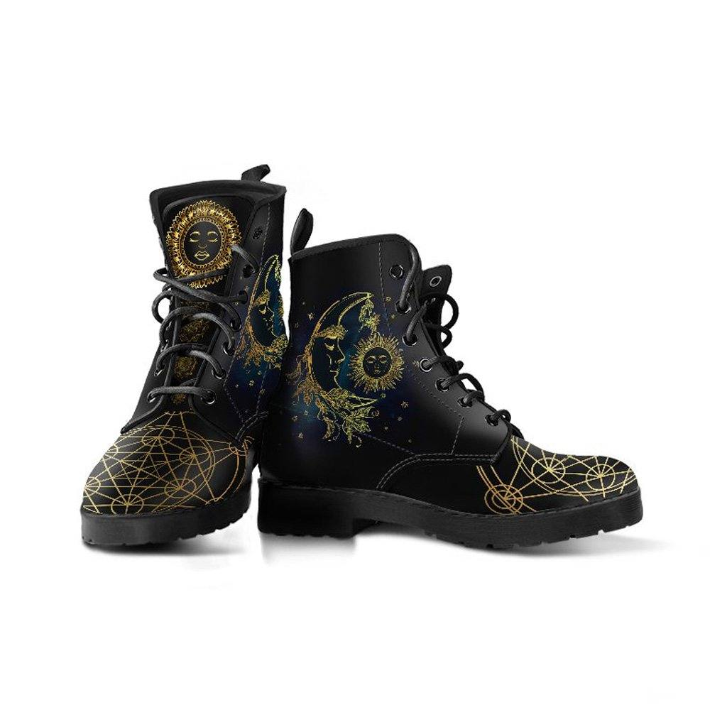 Sacred Geometry Sun & Moon Vegan Leather Boots