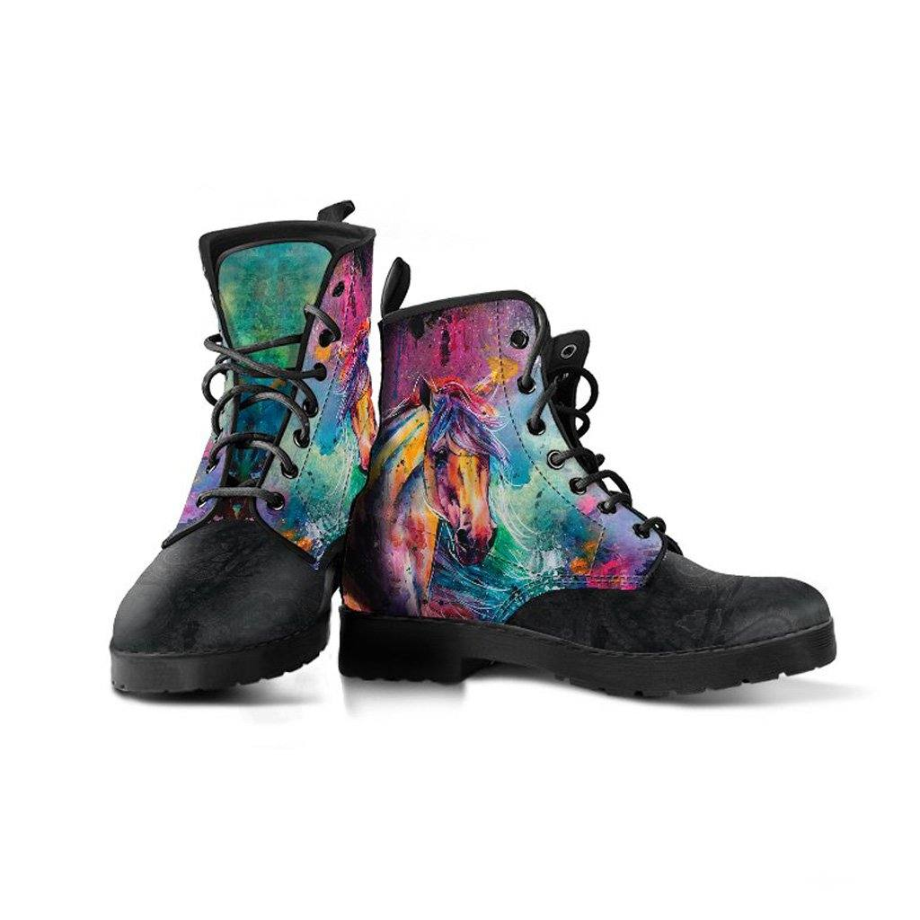 Watercolor Horses Vegan Leather Boots