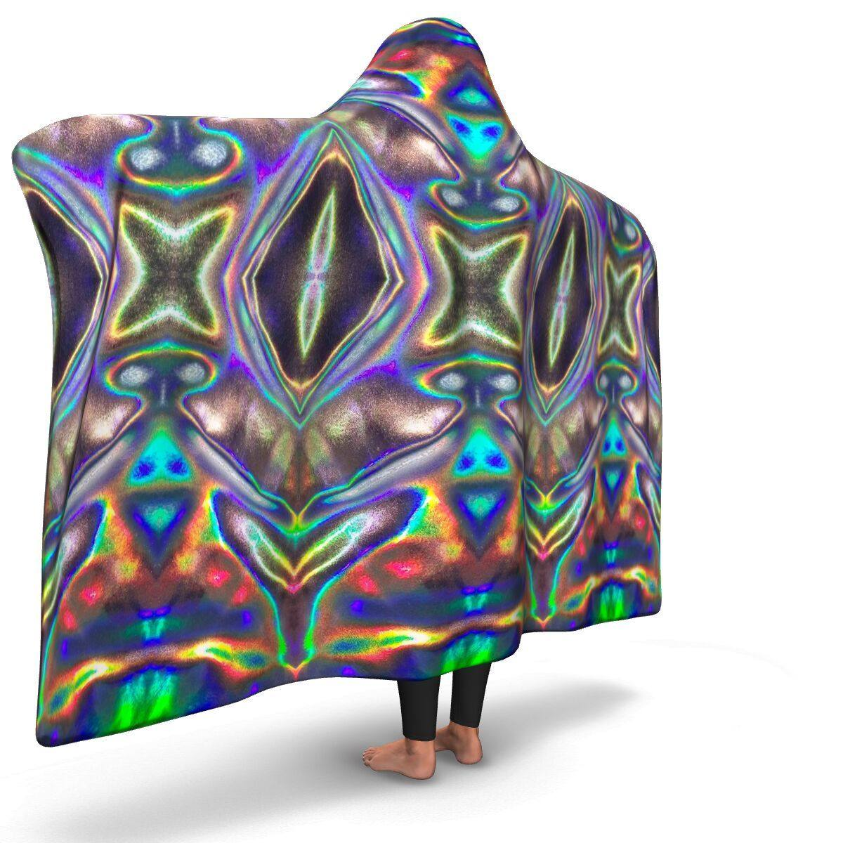 HOLOGRAPHIC PRINT PREMIUM HOODED BLANKET with WRIST STRAPS