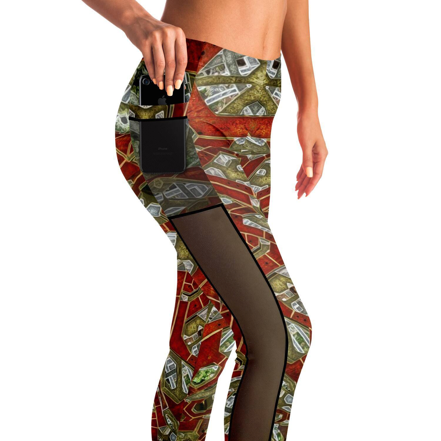 CERAMIC DREAMS MESH POCKET PREMIUM YOGA LEGGINGS