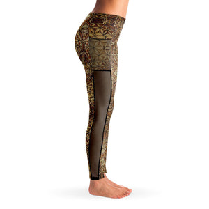 GOLDEN FLOWER OF LIFE PREMIUM MESH POCKET YOGA LEGGINGS