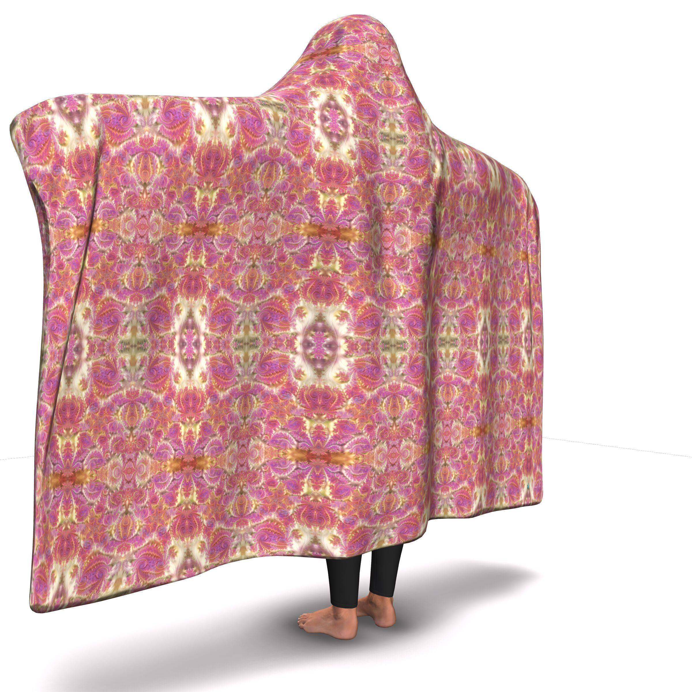FRACTAL ROSE GOLD PREMIUM HOODED BLANKET WITH WRIST STRAPS