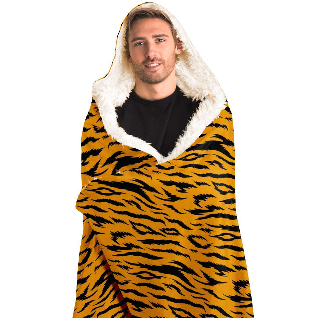 TIGER PATTERN PREMIUM HOODED BLANKET with Wrist Straps