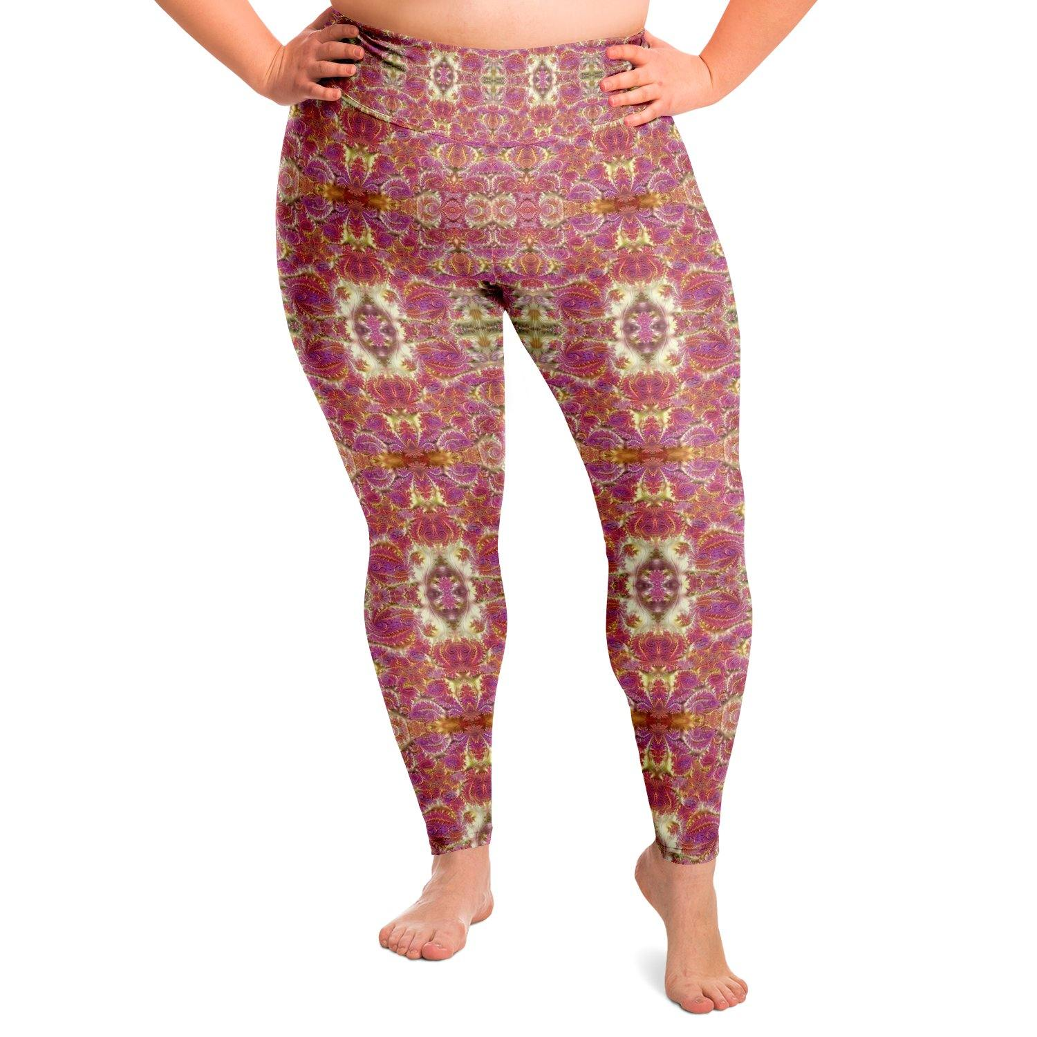 Fractal Rose Gold Premium Plus Size Yoga Leggings
