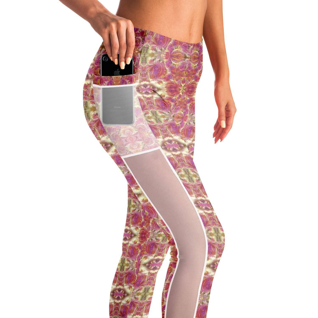 FRACTAL ROSE GOLD PREMIUM MESH POCKET YOGA LEGGINGS