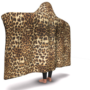 LEOPARD PRINT PREMIUM HOODED BLANKET with WRIST STRAPS