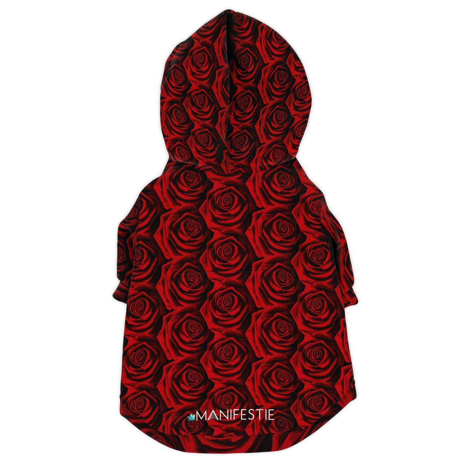 MOODY RED ROSES PREMIUM DOG ZIP UP HOODIE
