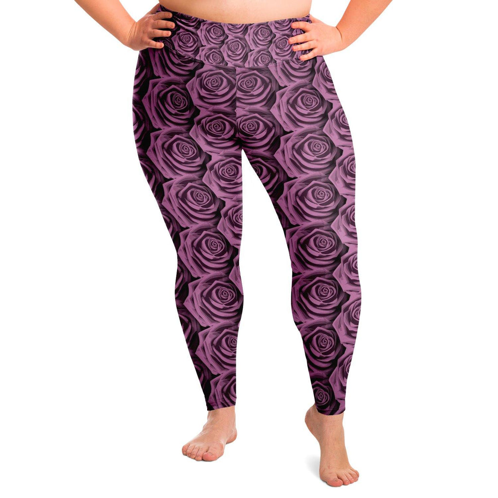 Pink Rose Premium Plus Size Yoga Leggings