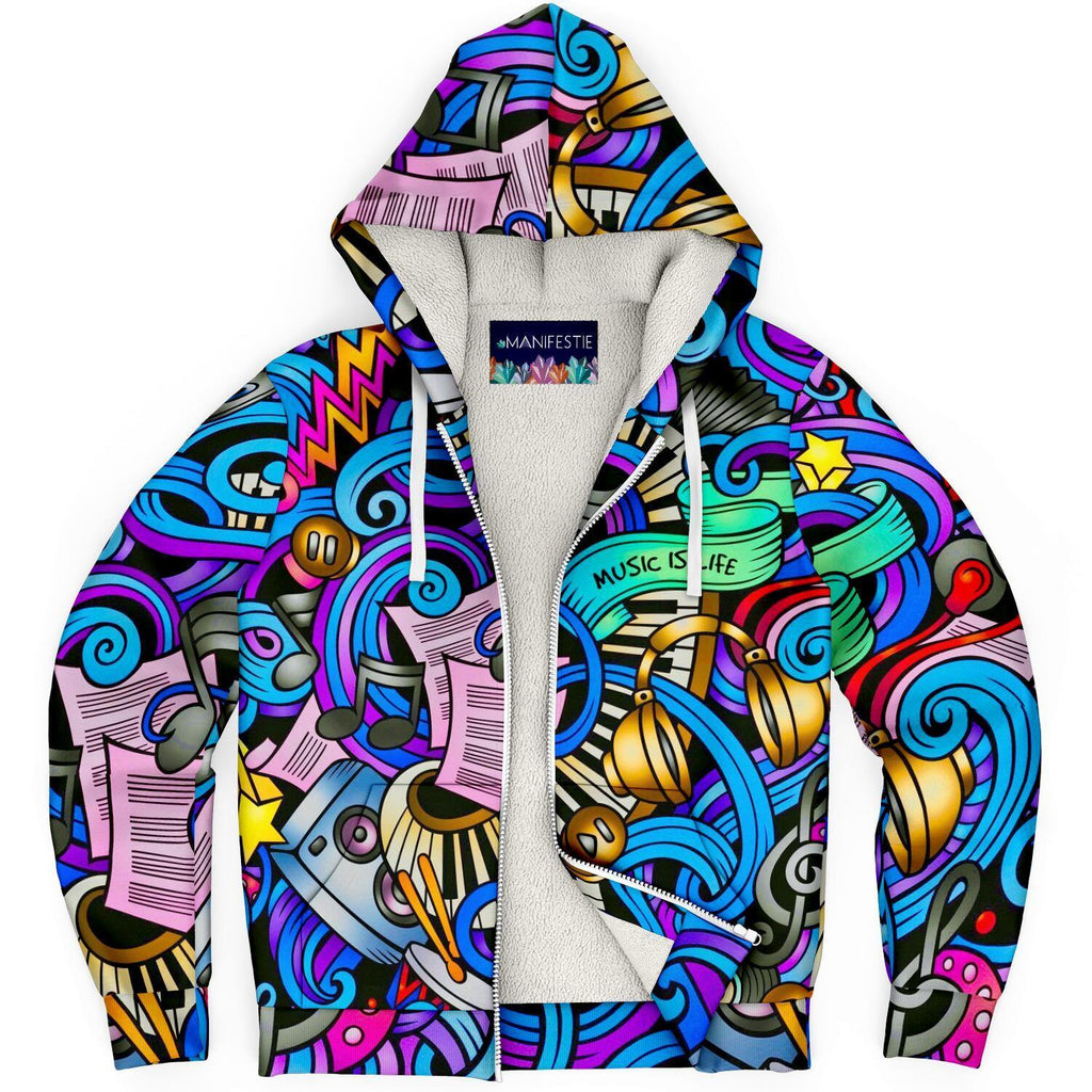 Music Is Life Premium Sherpa Lined Zip Hoodie
