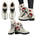Sugar Skull Roses Vegan Leather Boots With Faux Fur Lining - Manifestie