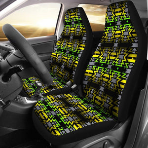 Black Fire Yellow and Green Car Seat Covers