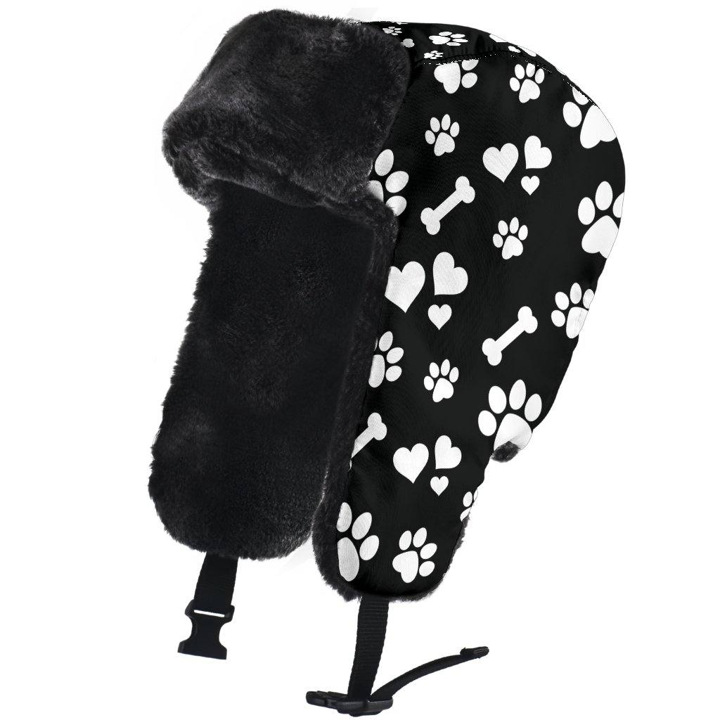 Paw Prints Trapper Hat | Winter Hat | Faux Fur Lining | One Size