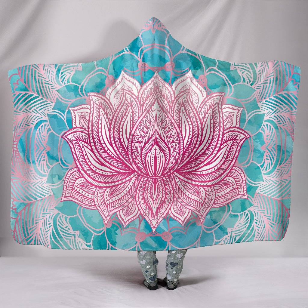 HandCrafted Magical Pink Lotus Hooded Blanket