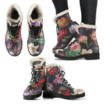 Summer Garden Vegan Leather Boots with Faux Fur Lining