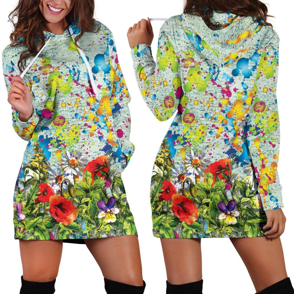Colorful Flower Hoodie Dress | Longline Hoodie Sweatshirt