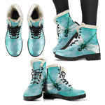 Dragonfly Sky Vegan Leather Boots With Faux Fur Lining