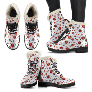 Ladybug Vegan Leather Boots with Faux Fur Lining