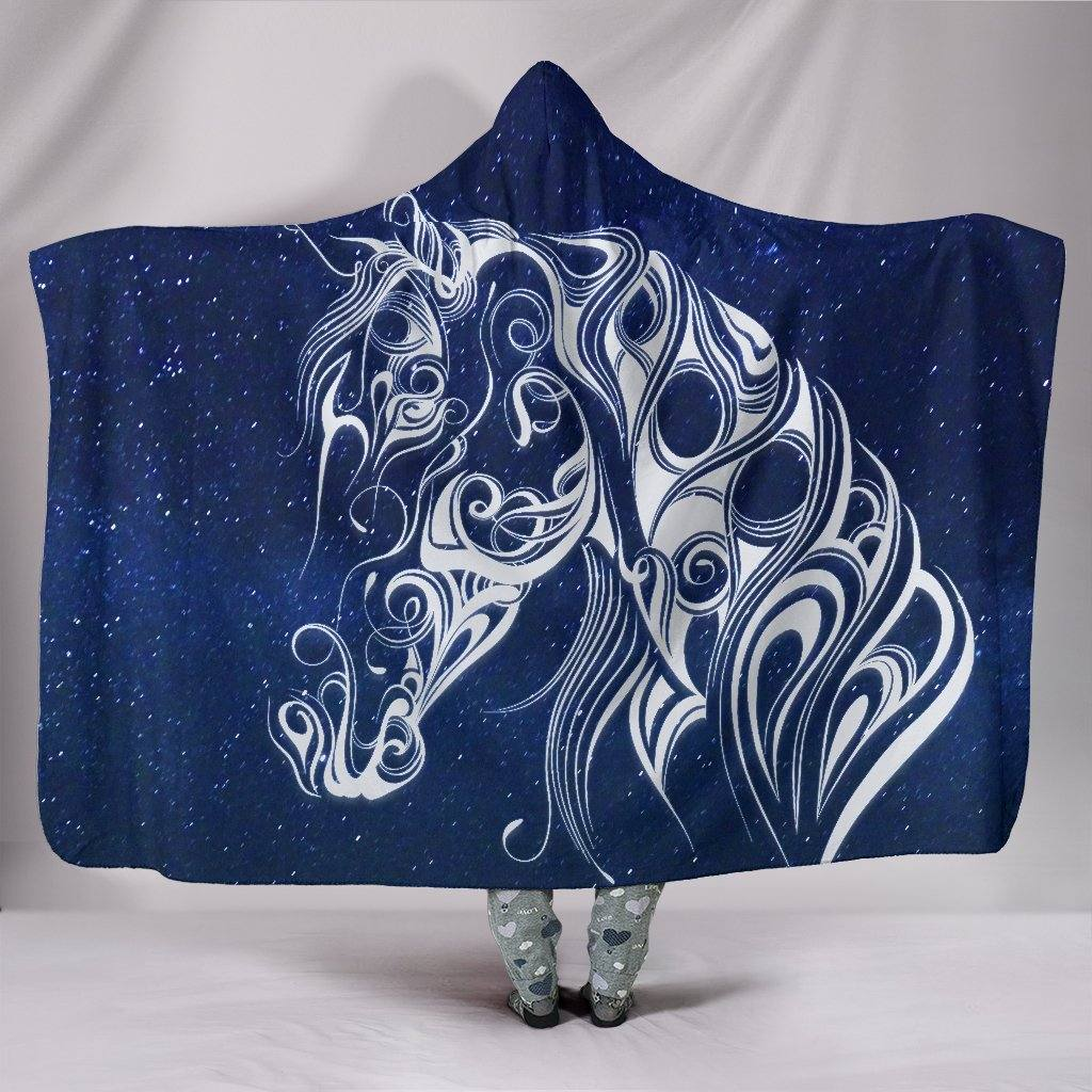 Starry Night Horse Hooded Blanket | Plush, Premium Sherpa | Kids, Adult | Blue