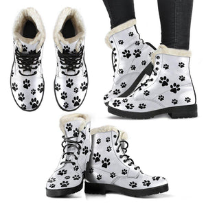 Dog Paw Prints Vegan Leather Boots With Faux Fur Lining