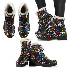Blue, Red Whiten and Yellow Music Notes Vegan Leather Boots with Faux Fur Lining