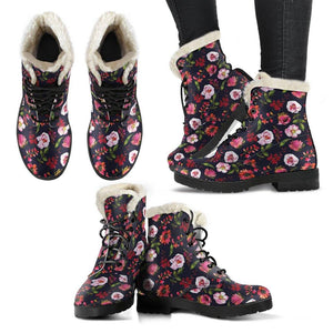 Floral Blush Pastel Roses Peonies Vegan Leather Boots with Faux Fur Lining