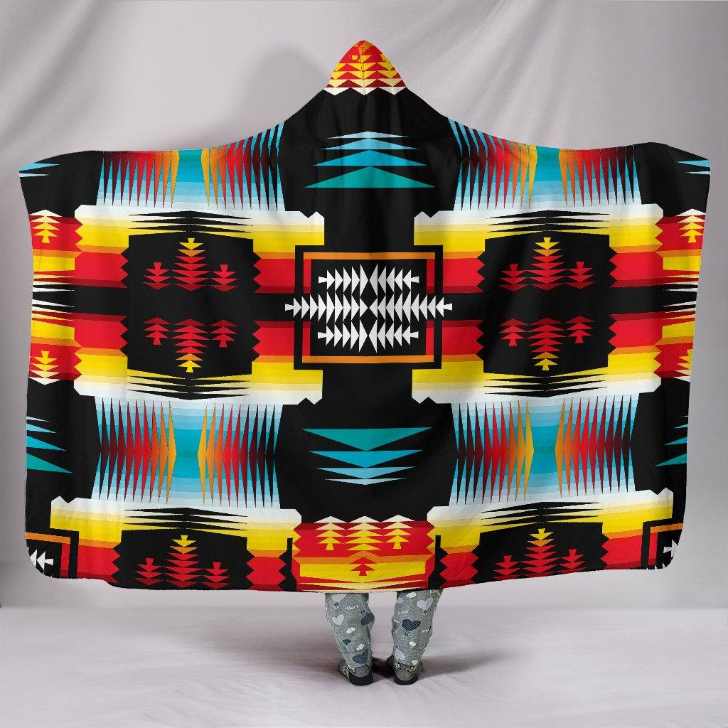 Sage Fire and Turquoise Hooded Blanket